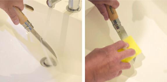 OPINELステンレススチールナイフの洗い方